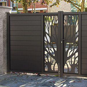 Portail aluminium motif decor