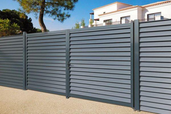 portail aluminium gris